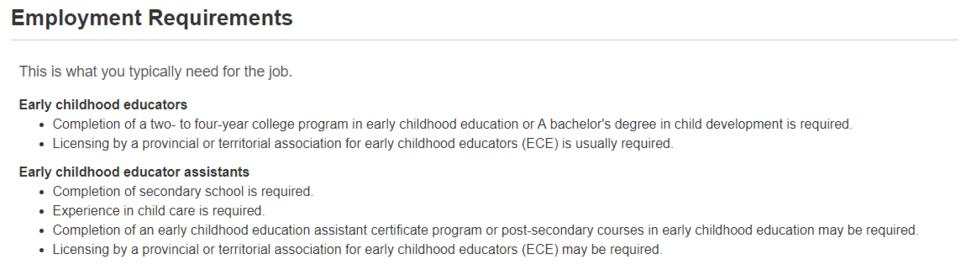 캐나다 유아교육학과