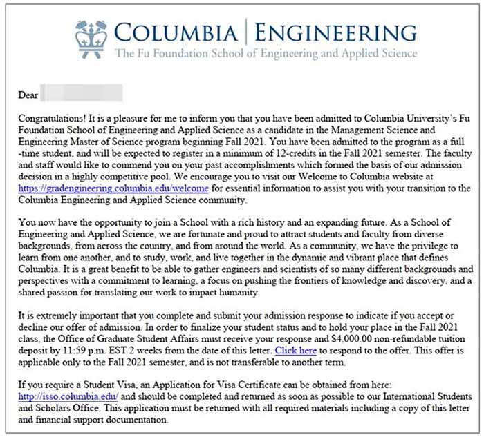 Columbia University 오퍼